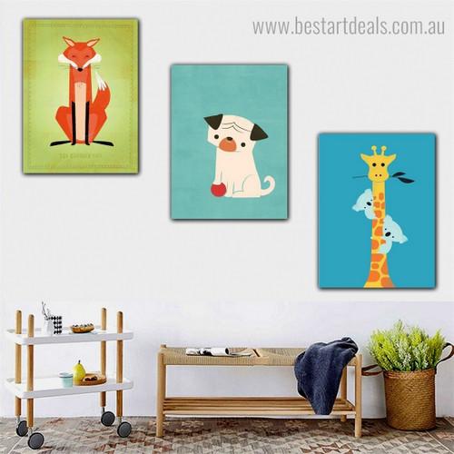 Koala Giraffe Pug Animal Kids Modern Framed Portrayal Photo Canvas Print for Room Wall Finery