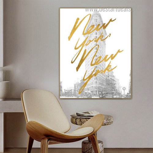 Flatiron Building Quote Cityscape Modern Framed Painting Photograph Canvas Print for Room Wall Assortment