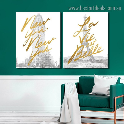 New York Belle Quote Cityscape Modern Framed Painting Photo Canvas Print for Room Wall Flourish