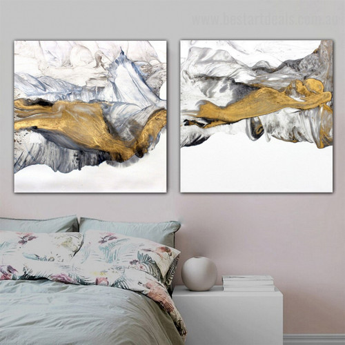 Golden Mountain Abstract Landscape Modern Framed Painting Picture Canvas Print for Room Wall Outfit