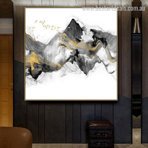 Mountainside Abstract Landscape Modern Framed Portraiture Picture Canvas Print for Room Wall Moulding