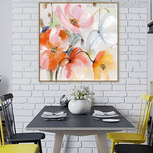 Abstract Watercolor Poppy Flowers Painting Print for Dining Room Wall Art