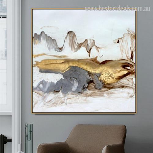 Golden Fells Abstract Landscape Modern Framed Portraiture Portrait Canvas Print for Room Wall Moulding