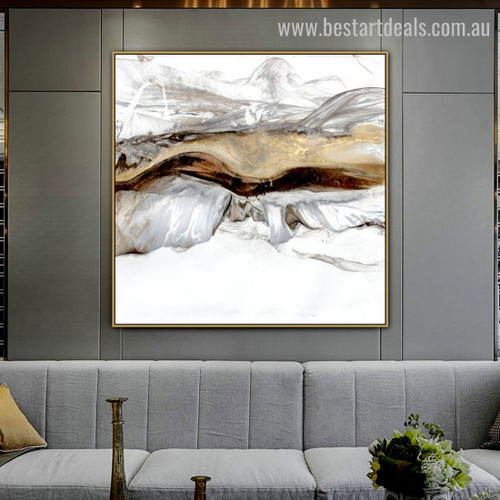 Golden Crest Abstract Landscape Modern Framed Artwork Photo Canvas Print for Room Wall Outfit