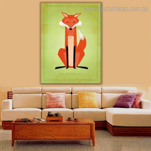 Animated Fox Animal Kids Modern Framed Painting Pic Canvas Print for Room Wall Garniture