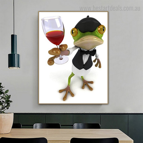 Green Frog Animal Modern Framed Artwork Picture Canvas Print for Room Wall Onlay