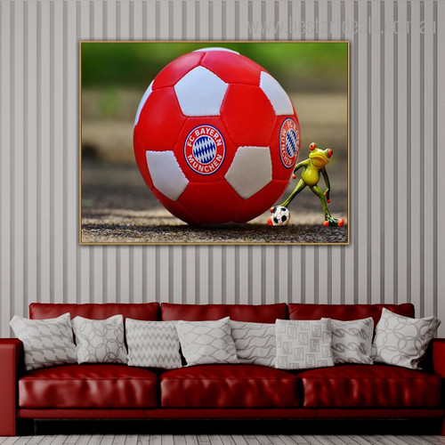 Frog Ball Animal Modern Framed Artwork Picture Canvas Print for Room Wall Adornment