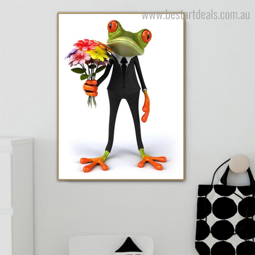 Anuran Animal Floral Modern Framed Painting Photo Canvas Print for Room Wall Getup