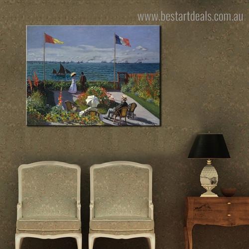 Garden at Sainte Adresse Botanical Impressionist Framed Artwork Picture Canvas Print for Room Wall Getup