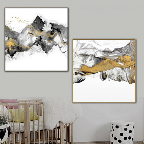 Snow Mountains Abstract Modern Framed Painting Picture Canvas Print for Room Wall Decoration