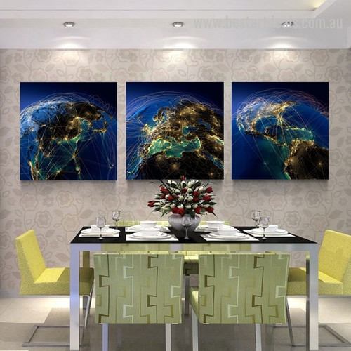 Network Production Map Contemporary Framed Painting Photo Canvas Print for Wall Hanging Decor