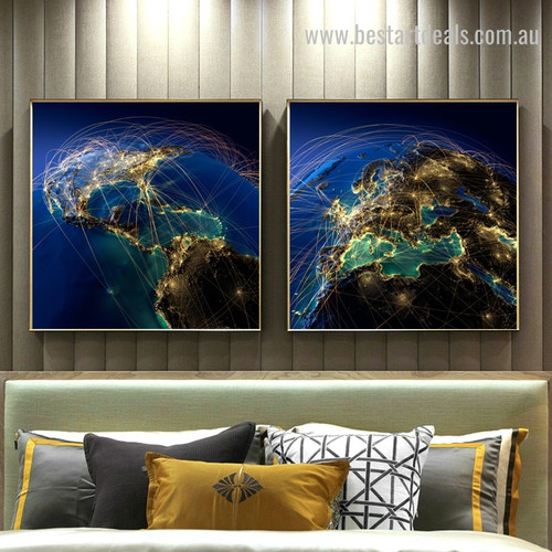 Earth Network Map Contemporary Framed Painting Photo Canvas Print for Room Wall Getup