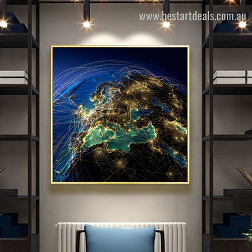 Global Network Map Contemporary Framed Portrayal Image Canvas Print for Room Wall Getup