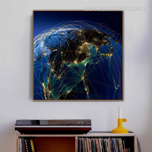 World Network Map Contemporary Framed Portrayal Pic Canvas Print for Room Wall Onlay