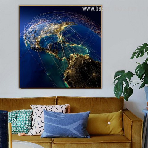 Productivity of Network Map Contemporary Framed Portrayal Pic Canvas Print for Room Wall Decoration