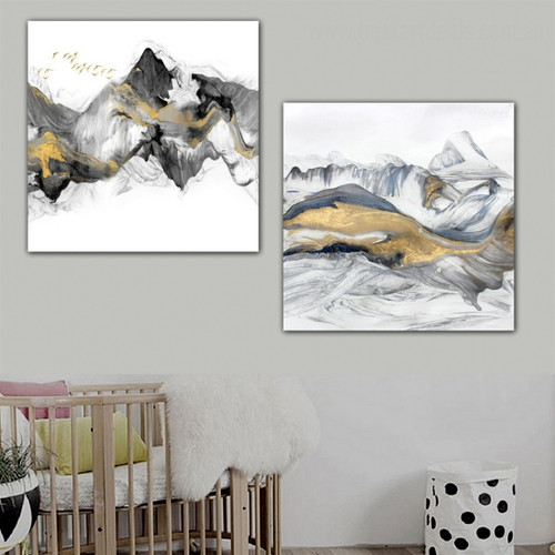 Ice Hills Abstract Modern Framed Artwork Image Canvas Print for Room Wall Drape