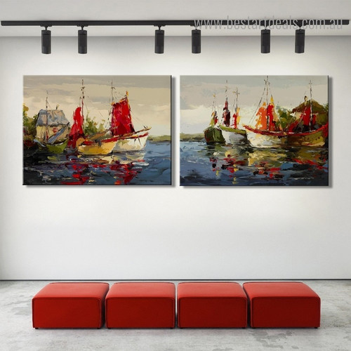 Profound Boats Abstract Modern Seascape Framed Painting Photo Canvas Print for Room Wall Outfit