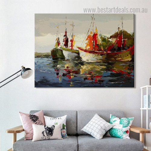Waves Abstract Modern Seascape Framed Painting Pic Canvas Print for Room Wall Getup