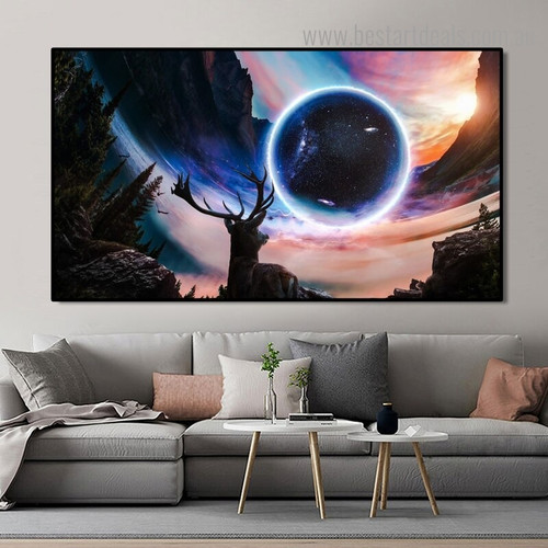 Fantasy Starry Landscape Modern Framed Painting Photo Canvas Print for Room Wall Drape