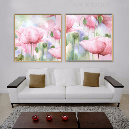 Abstract Watercolor Pink Poppy Flowers Painting Print for Living Room Decor