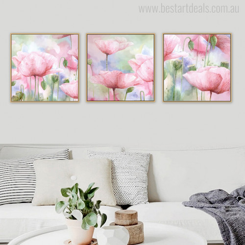Abstract Pink Poppy Flowers Print for Room Decor