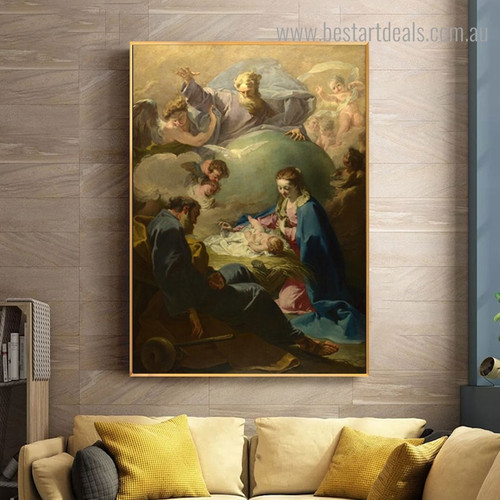 Nativity with God Religious Reproduction Framed Painting Picture Canvas Print for Room Wall Getup