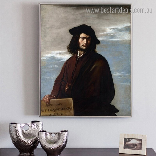 Self Portrait Salvator Rosa Framed Reproduction Wall Art Print for Room Wall Finery