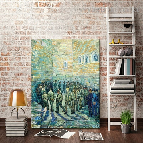 The Prisoners Round Vincent Willem Van Gogh Reproduction Framed Painting Image Canvas Print for Room Wall Adornment