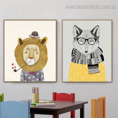 Fox Lion Animated Animal Modern Framed Children Art Print for Room Wall Assortment