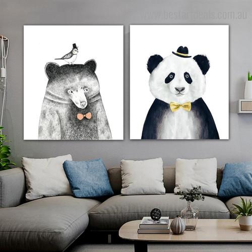 Panda Bear Animal Cartoon Framed Modern Art Print for Room Wall Getup