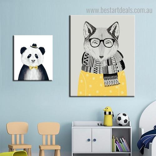 Panda Fox Animated Modern Framed Animal Prints for Kids Room Decor