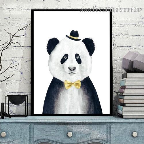 Cute Panda Animal Animated Modern Framed Painting Portrait Print for Room Wall Decoration