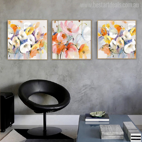 Abstract Multicolor Poppy Flowers Watercolor Painting Print for Living Room