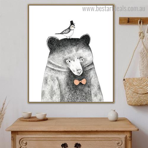 Bruin Bird Animal Animated Modern Framed Art Picture Print for Room Wall Molding