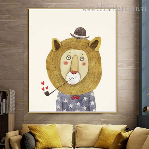 Smoking Lion Animal Animated Modern Framed Kids Art Print for Room Wall Onlay