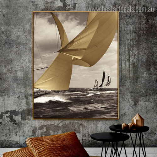 Mare View Seascape Modern Landscape Painting Framed Photo Print for Room Wall Getup