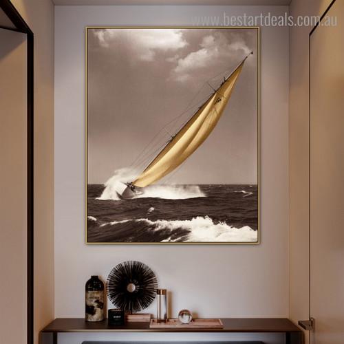Briny Seascape Modern Landscape Painting Framed Photo Print for Room Wall Garnish