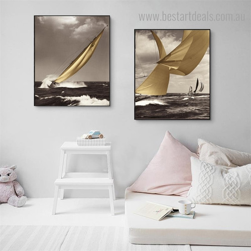 Ocean View Seascape Modern Framed Painting Landscape Canvas Print for Wall Hanging Decor