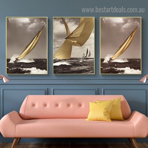Profound View Seascape Modern Framed Painting Landscape Picture Canvas Print for Room Wall Decor