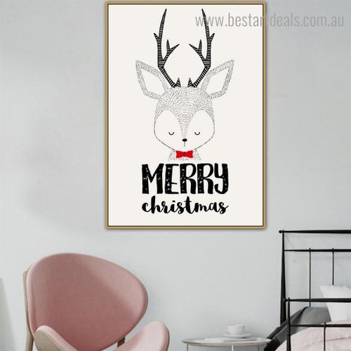 Christmas Deer Animal Animated Framed Kids Wall Art Print for Room Wall Molding