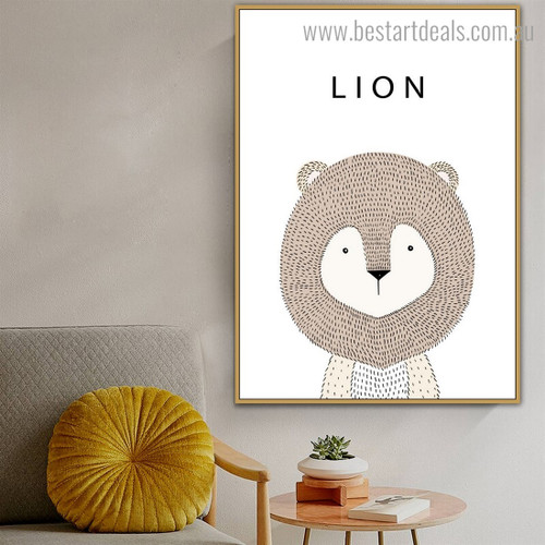 Lovely Lion Animated Animal Modern Framed Painting Pic Canvas Print for Room Wall Onlay