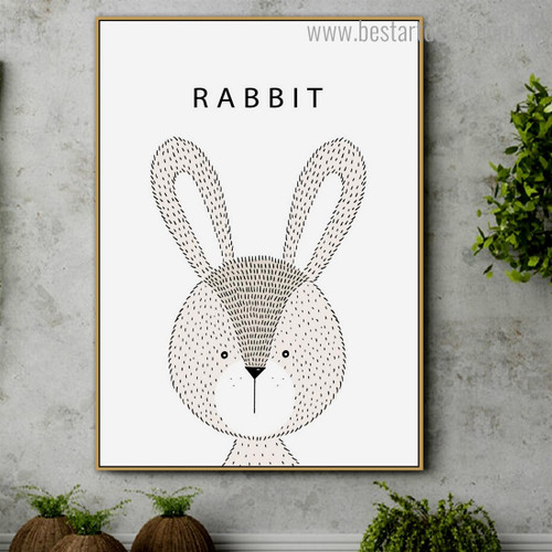 Dotted Rabbit Animated Animal Modern Framed Artwork Photo Canvas Print for Room Wall Ornament