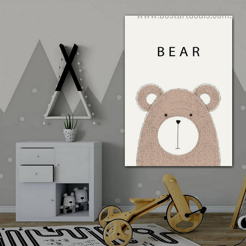 Cute Bear Animated Animal Modern Framed Painting Picture Print for Kids Room Wall Ornament