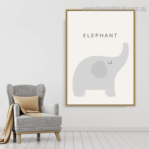 Little Elephant Animal Cartoon Modern Painting Framed Pic Canvas Print for Room Wall Flourish