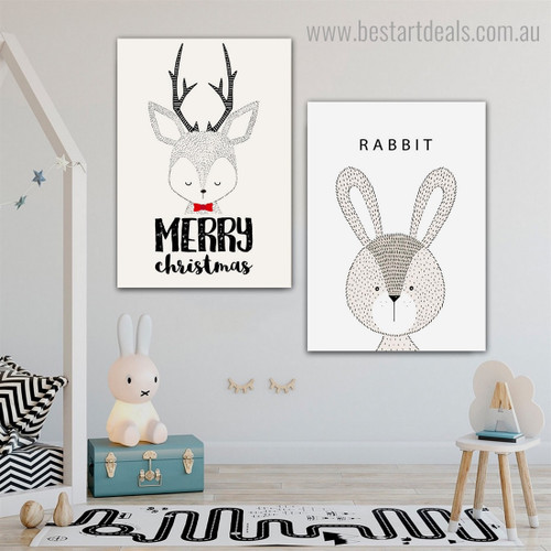 Deer Rabbit Animated Animal Modern Framed Painting Pic Canvas Print for Room Wall Ornament