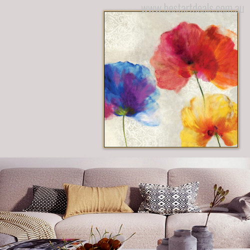 Abstract Poppy Flowers Watercolor Painting Canvas Print for Living Room Decor