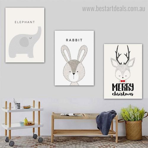 Elephant Deer Rabbit Animated Animal Modern Framed Painting Photo Canvas Print for Room Wall Getup