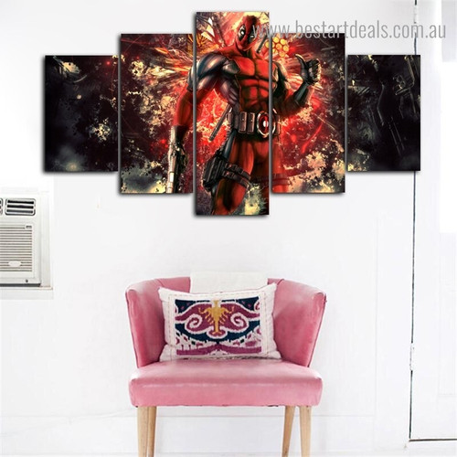 Deadpool Hollywood Modern Framed Portmanteau Image Canvas Print for Room Wall Disposition