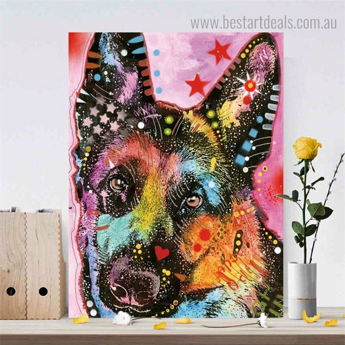 German Shepherd Dean Russo Animal Pop Framed Artwork Photo Canvas Print for Room Wall Decoration