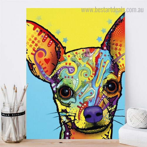 Chihuahua Dean Russo Animal Pop Framed Portraiture Portrait Canvas Print for Room Wall Drape